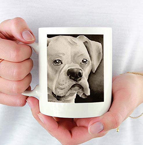 White Boxer Custom 11oz Mug With Dog Art Featuring Watercolor Painting by Artist DJ Rogers