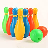 Creatif Ventures Ventures Bowling Game Set of 10 Bottles and 2 Balls Multicolour
