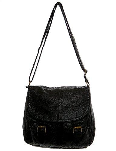 Vegan Leather Shoulder Handbag Purse Crossbody Eco Friendly by Ampere Creations (The Lexi-Black)