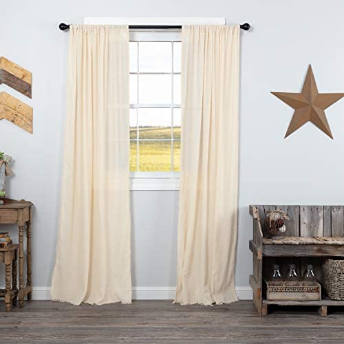 VHC Brands Tobacco Cloth Fringed Curtain