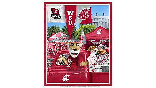 (Washington State University Cotton Fabric Panel with Tailgate Design-Sold by The Panel)