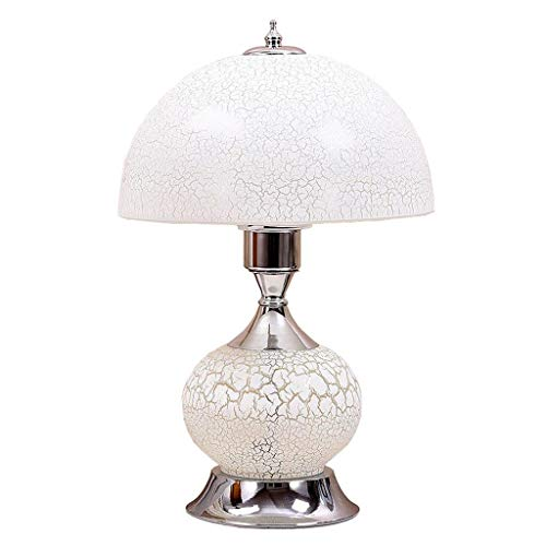 (LE LHL-Table Lamp European Style Glass Decoration Table Lamp for Living Room Bedroom Study Desk Decorated Desk Lamp with E27 Button Switch White)
