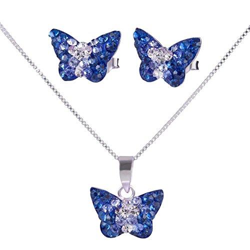 SL Silver - Conjunto de plata ley 925de cadena y pendientes infantiles de mariposa de cristal con caja de regalo