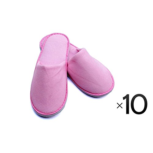 Luxurious Cotton Cloth Slipper Slippers Home Salon Spa Hotel Men Women Closed Toes - 10 Pairs - Pink by Project E Beauty
