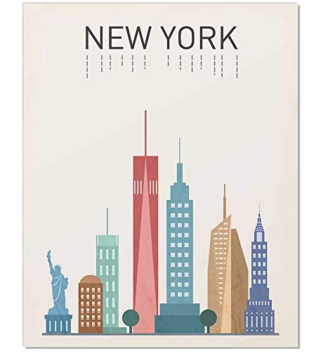 Nyc Large Poster - New York Print, New York Art, New York Poster, New York Landmark Print, New York Map, Wall Art, New York Buildings, New York Famous Building, NYC Art, Gift Idea, Unframed, 8x10