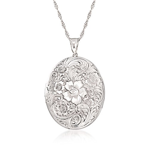 - Ross-Simons Plain Sterling Silver Floral Locket Pendant Necklace