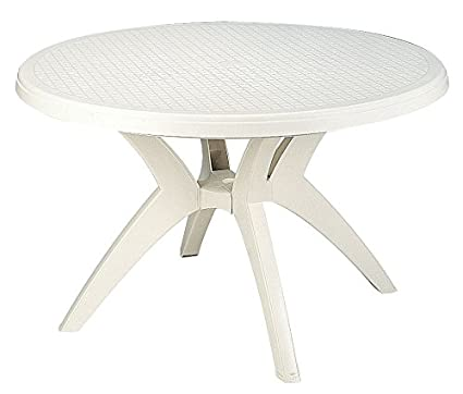 Amazoncom Ibiza Best Value Outdoor Round Resin Table With - White outdoor dining table with umbrella hole