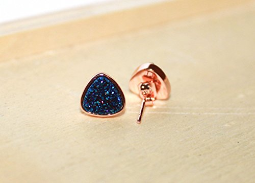- Triangle Blue Navy Druzy Stud Earrings, Rose Gold bezel setting, 8 mm , Bridesmaid Jewelry Set of 4, 5, 7, 8, 9, 10, 12 / Christmas Gift for her