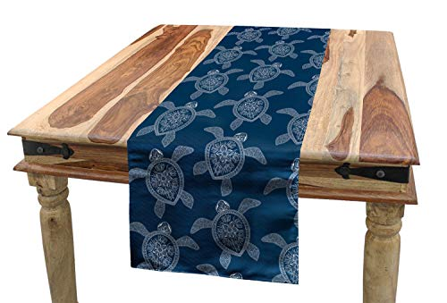 Lunarable Mandala Turtle Table Runner, Bohemian Pattern with Abstract Turtle Figures in Oriental Style, Dining Room Kitchen Rectangular Runner, 16 W X 72 L Inches, Night Blue and White