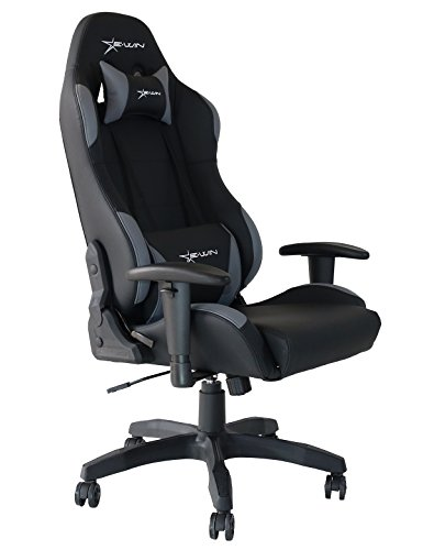 Style Rocker Recliner - E-Win Gaming Chair Ergonomic High Back PU Leather Racing Style with Adjustable Armrest and Back Recliner Swivel Rocker Office Chair Black Gray