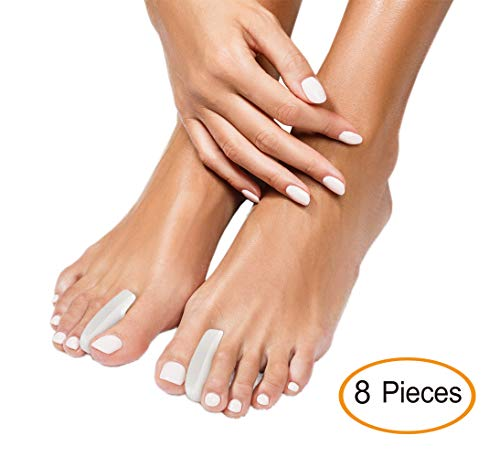 Best Gel Toe SEPARATORS - Toes Straightener Divider and Bunion Corrector for Women and Men. 8 Piece Toe Stretcher Spacer Foot Care Set. Toe Relief for Pain, Correct Crooked Toes, Plantar Fasciiti