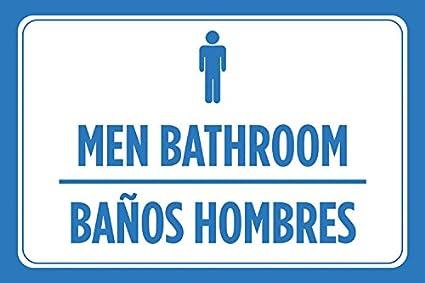 Hombres baño baños hombres español Print Azul Blanco Hombre ...