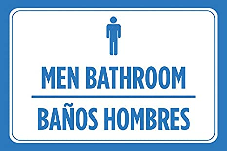 Amazon.com: Men Bathroom Banos Hombres Spanish Print Blue ...