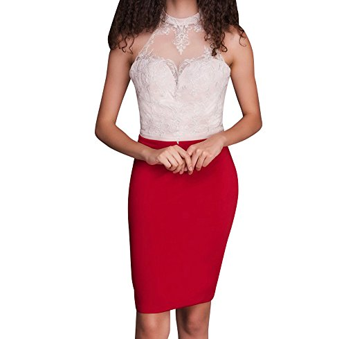 Braut Spitze Rot Partykleider Rock Tanzenkleider Festlichkleider Mini Rot La Marie Cocktailkleider Sexy 6H5wfw