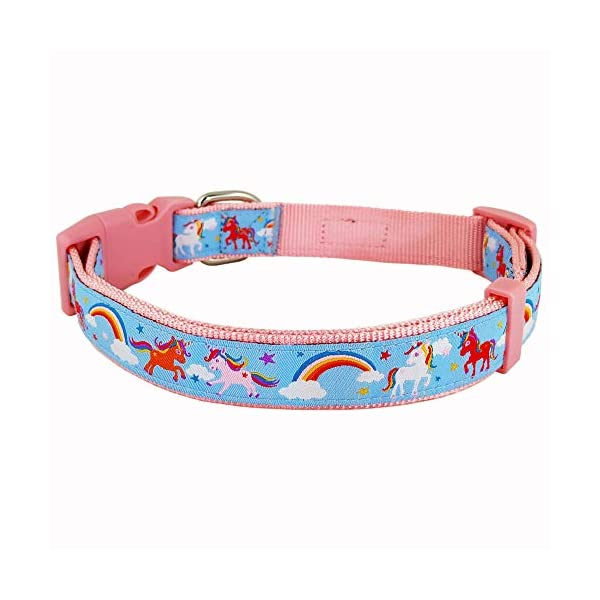 Bestbuddy Pet Fashion Designer Cartoon Unicorns and Rainbows Durable Nylon Ribbon Dog Collar Pet Collar Trendy Comfortable Adjustable Dog Collar with Buckle BBP035 6