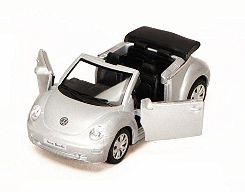 2003 Volkswagen Beetle Convertible, Silver - Kinsmart 5073D - 1/32 Scale Diecast Model Replica (Brand New, but NO BOX) Beetle Diecast Model