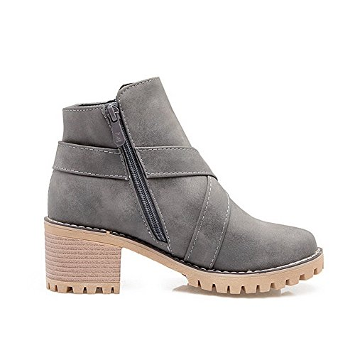 Gray PU Kitten Boots Toe Solid Heels Round Zipper AgooLar Women's wpxg0qxz