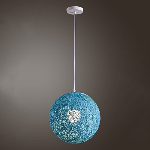 - LED Rattan Chandeliers European Village Wooden Round Iron Lighting Ceiling Lamps Retro Creative Dining Table Bedroom Clothing Store Mall Pendant Light (Color : Blue, Size : 35cm)
