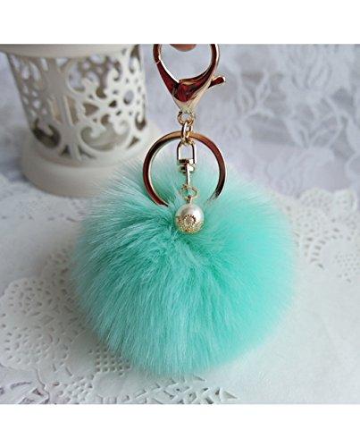 Fullkang Cute Rabbit Fur Ball Keychain Bag Plush Car Key Ring Pendant (Green)