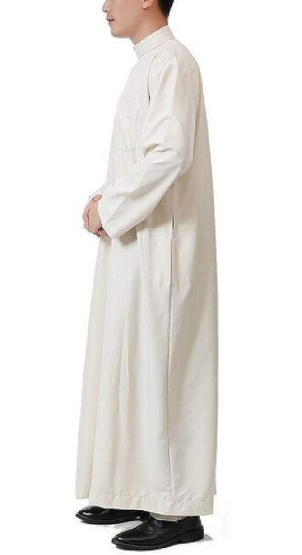 BYWX Men Button Long Sleeve Stand Collar Saudi Arab Thobe Islamic Muslim Dubai Robe