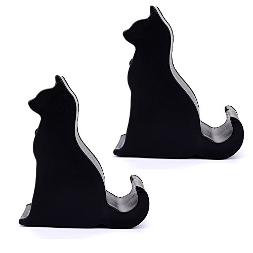 2 x Pcs Black Cartoon Cat Cellphone Holder Kickstand Desk Stand Tablet Mount For iPhone Samsung HTC Motorola LG BLU Phones iPad and Tablet