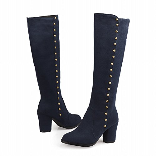 Show Shine Womens Fashion Nubuck Knee-high High-heel Block-heel Western Boots Blue xnPS6
