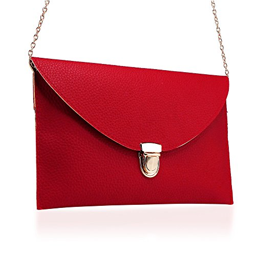 GEARONIC TM Fashion Women Handbag Shoulder Bags Envelope Clutch Crossbody Satchel Purse Leather Lady Messenger Hobo Bag - Red