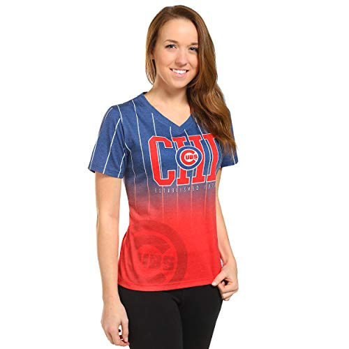 FOCO MLB Chicago Cubs Womens Team Color Gradient V-Neck - Cubs Women Shirts Chicago
