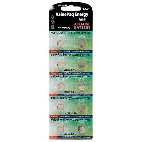 Dantona Valuepaq Energy AG5 Silver Oxide Alkaline Coin Cell Batteries, 10 Pk