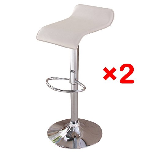 OSPI Air Lifted Swivel Chairs Adjustable Bar Stools Kitchen Stool Breakfast Bar Stools (Set of 2 ,Beige)