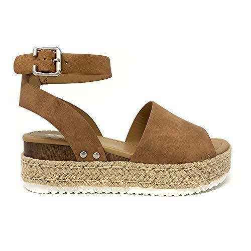 SODA Topic Topshoe Avenue Women's Open Toe Ankle Strap Espadrille Sandal (5.5 M US, Tan)