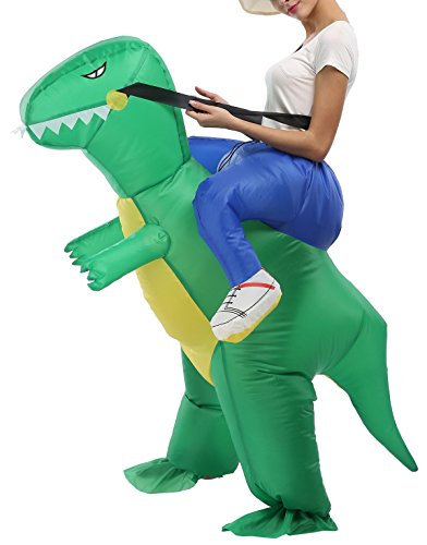 SASALO Adult Kids Inflatable Costume Funny Animal Riding Halloween Blow up Suit - Riding T Rex Costume