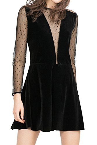 Frauen Elegante Spitzen Reine Swing Mini Kleines Schwarzes Kleid ...