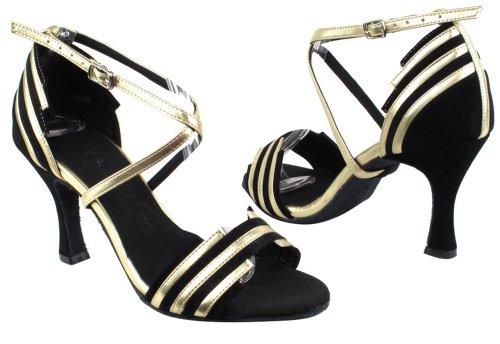 Very Fine Shoes Ladies Latin, Rhythm & Salsa Salsera Series SERA1700 (3 COLORS) 3 Black Suede & Light Gold Trim