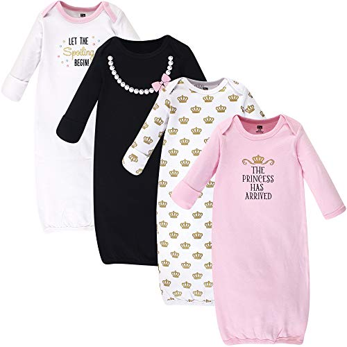 (Hudson Baby Unisex Baby Cotton Gowns, Princess 4-Pack, 0-6 Months)