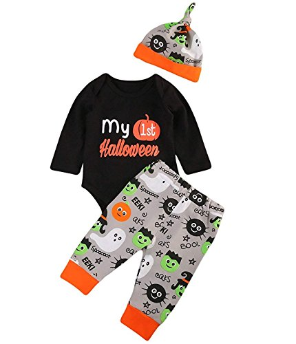 YOUNGER TREE Baby Boys Girls Christmas Romper My 1st Halloween Bodysuit and Pants with Hat Winter Outfit (Black, 0-6 Months) -