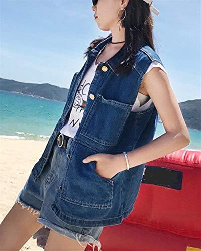 Jeans Jacket Smanicato Denim Fashion Blau Autunno Bavero Donna Gilet Eleganti Primaverile Giubbotto Women Sciolto Giovane Blu Casuali prqpd