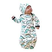 oldeagle Newborn Infant Baby Girls Boy Cartoon Dinosaur Pajamas Gown Swaddle Hats 2Pcs Outfits