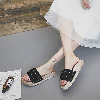LvYuan Mujer Sandalias Confort Goma Verano Paseo Confort Media plataforma Negro Beige Morrón Oscuro Menos de 2'5 cms Black