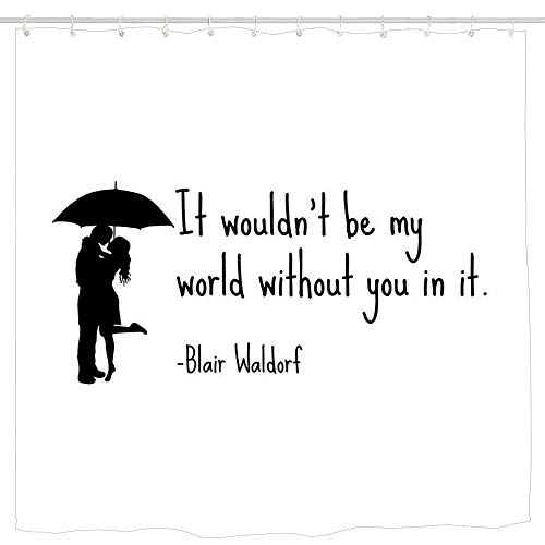 KOiomho Blair Waldorf Quote Shower Curtain, Details Artistic Picture, Cloth Fabric Bathroom Decor Set with Hooks 6072 inch