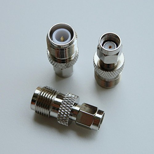- 2pack RP-SMA-M-male-Plug to RP-TNC-F-Female-Jack Silver High Value pure brass Connector adapter coupler nut