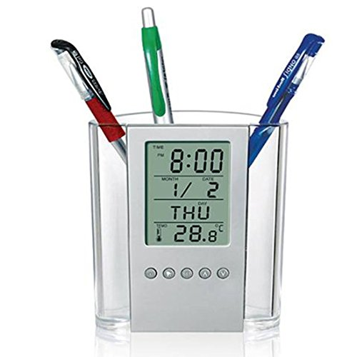 AlleTechPlus Digital Desk Pen Pencil Holder LCD Alarm Clock Thermometer Calendar Display for Home Office School [Back to school] (Clock Digital Desk)