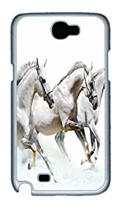 Cool Protective PC Case Skin for Samsung Galaxy Note2 N7100 with 3 White Horses (White)