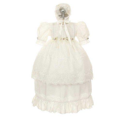 3043 Rose (Rain Kids White Rosebud Baptism Bonnet Dress Toddler Girl 3T)