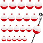 Benvo 20Pcs Fishing Bobbers 4 Sizes Assortment Bobbers Floats Set Round Buoy Red and White Bobbers Floaters Sn