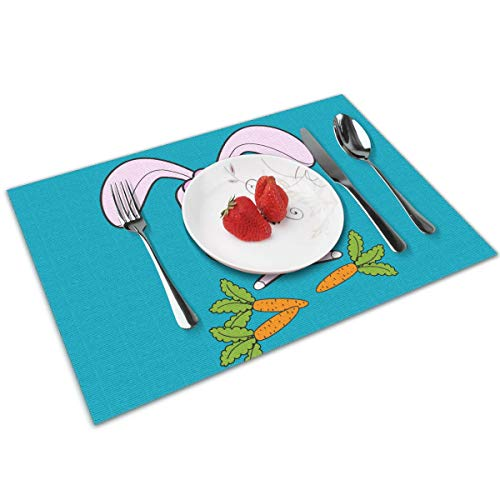 Jinsshop Placemat Set of 4 Washable Placemats for Dining Table Indoor Outdoor Heat Resistant Stain Resistant Crossweave Kitchen Table Mats Wipe Clean(4, Rabbit Eating Radish)