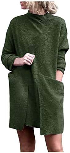 AmazingDays Women Sweatshirt Dress Pockets Long Sleeve Pullover Dress Shirts Top Blouse Tunics to wear with Leggings