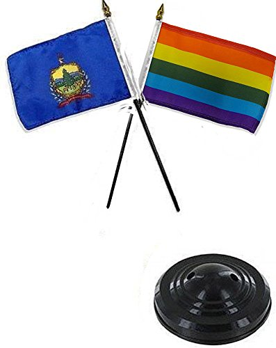 ALBATROS State Vermont with Rainbow Gay 4 inch x 6 inch Flag Desk Set Table Stick with Black Base for Home and Parades, Official Party, All Weather Indoors -