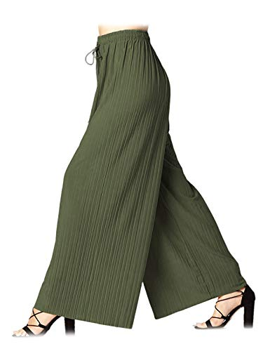 Design by Olivia Women's Elastic Waist Chiffon Loose Pleated Wide Leg Palazzo Overlay Pants/Capri/Skirt,Ipaw023 Olive,Plus Size