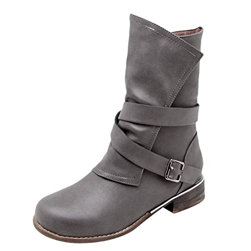 Zip Carolbar Women's Boots Grey Western Concise Short Flat Buckle Casual rraIpqx